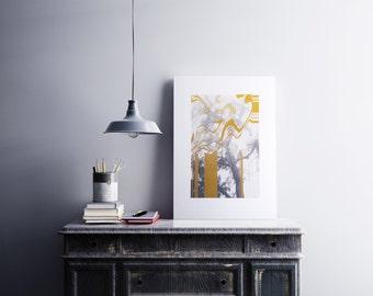 Golden Tree screen print abstract wall decor A3