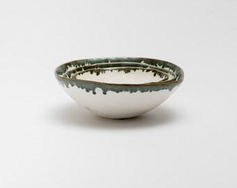 White Pinch Pot with  green rim