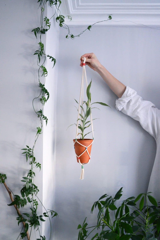 hanging planter hanging plant holder cotton cord vintage. Black Bedroom Furniture Sets. Home Design Ideas