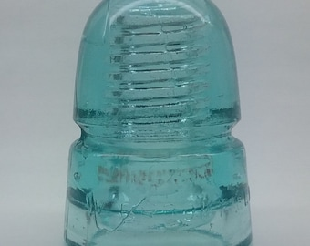 Cd 145 [270] W. BROOKFIELD / NEW YORK Light Blue Glowing Glass Telegraph Insulator in Nm Condition