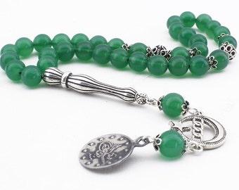 33 Count 8mm Green Agate Carnelian Aqeeq Gemstone Prayer Beads with 925K Silver Tassel Tasbih Islamic Rosary FREE SHIPPING