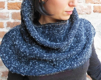 Cape wool Boucle scarf winter Wrap/gift/grey Reversible/winter/Christmas/Hood grey Turtleneck shrug/