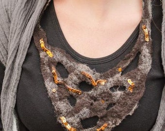 Felt necklace brown with bronze sequins/Eco friendly jewelry/Tribal felted necklace