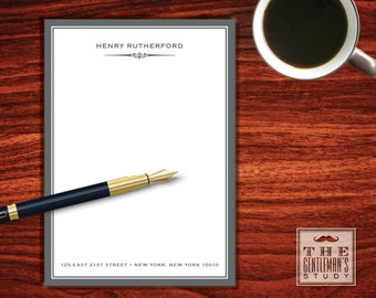 Gramercy Notepad - Masculine Personalized Stationery - Custom Printed Memo Pad for Man - Monogrammed Stationary for Men - 5x7 Note Pad