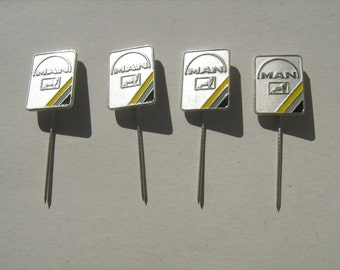 4 NOS MAN truck pin badge