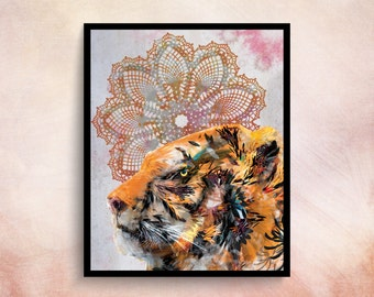 Wall Art Posters Boho Poster Tiger Wall Art Tiger Print Boho Prints Tiger Poster Animal Poster Animal Print Posters And Prints