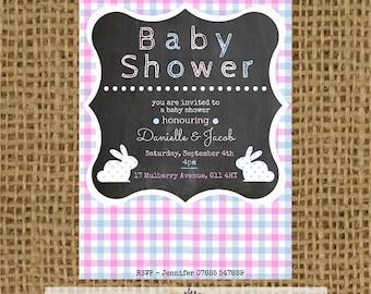 Gender Neautral (Pink and Blue) Printable Baby Shower Invitation - Chalkboard Effect