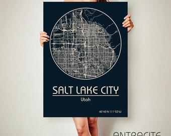 SALT LAKE City Utah CANVAS Map Salt Lake City Utah Poster City Map Salt Lake City Utah Art Print Salt Lake City Utah poster Salt Lake City