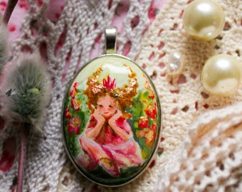 Hand painted jewelry Princess necklace Hand painted Pendant pink green Handpainted Cute fairy necklace Fantasy jewelry Floral necklace