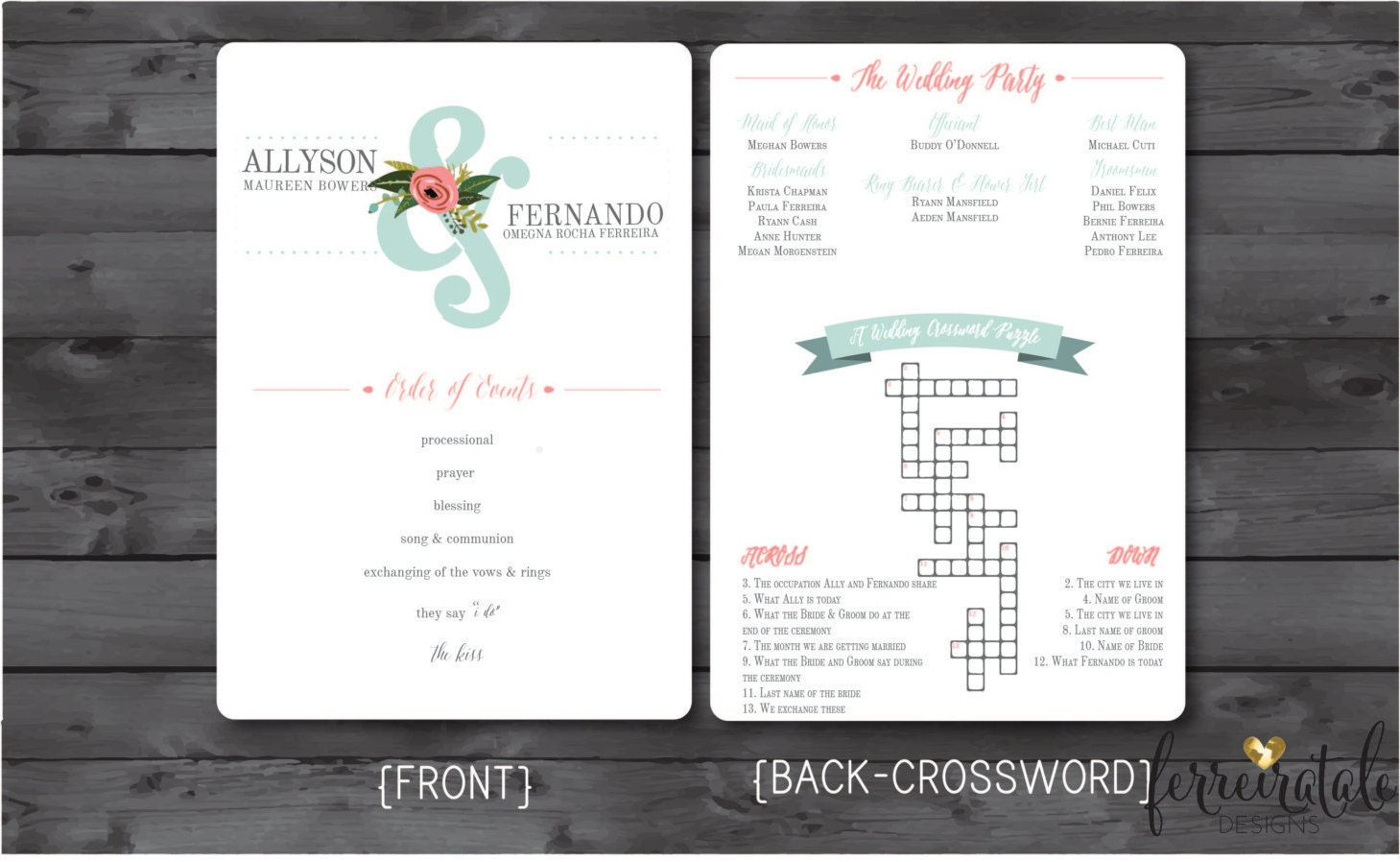 Mint And Pink Wedding Program