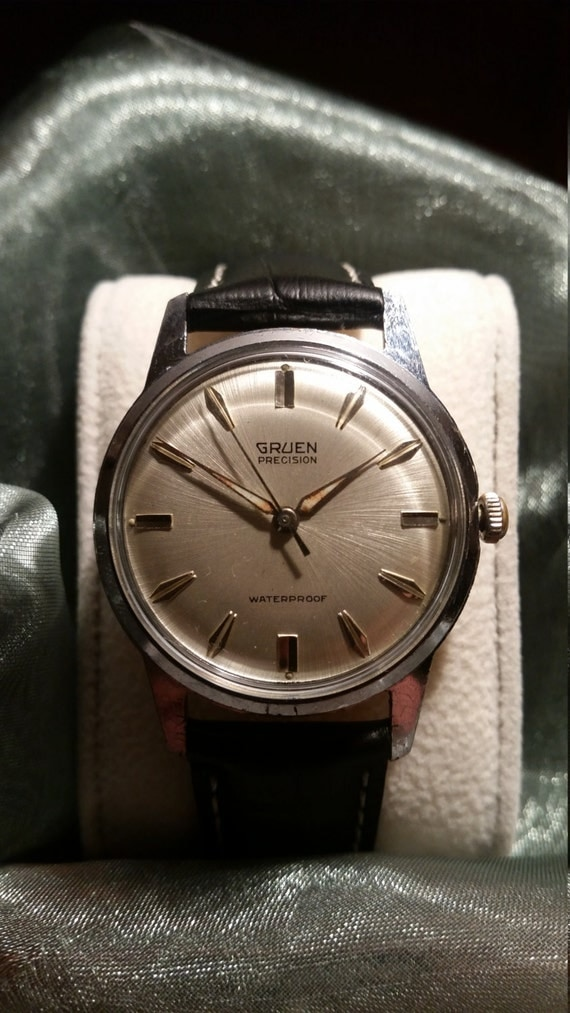 Gruen Vintage Watch - 1960's Precision Gruen Gent's Stainless Steel Watch with New Premium Leather Strap