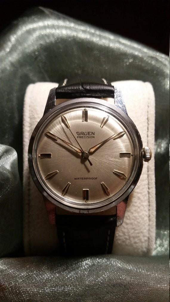 Gruen Vintage Watch - 1960's Precision Gruen Gent's Stainless Steel Watch with New Premium Leather Strap