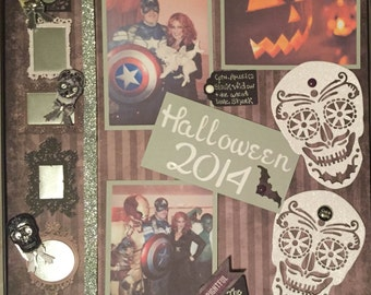 """Halloween Scrapbook Page in """"Day of the Dead"""", personalized for your family, for framing/scrapbooking"""