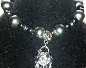 Bellatrix lestrange inspired Bracelet bird skull pendant.