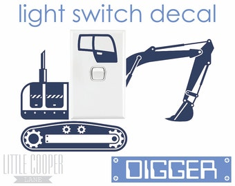 FREE POSTAGE AUSTRALIA_Digger / Excavator Light Switch Vinyl Wall Decal Sticker_Very Cute_For Nursery OR Kids Room_ID#1345