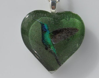 Hummingbird Glass Pendant Necklace