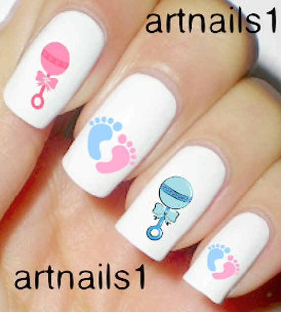 baby pink blue nails nail art polish manicure boy by artnails1