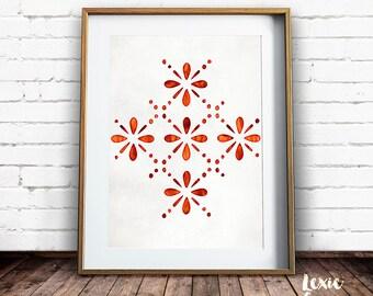 Lace print, Orange Pattern, Broderie Anglaise, Scandinavian Design, Orange Print, Orange Floral Pattern, Scandinavian, Printable Wall Art