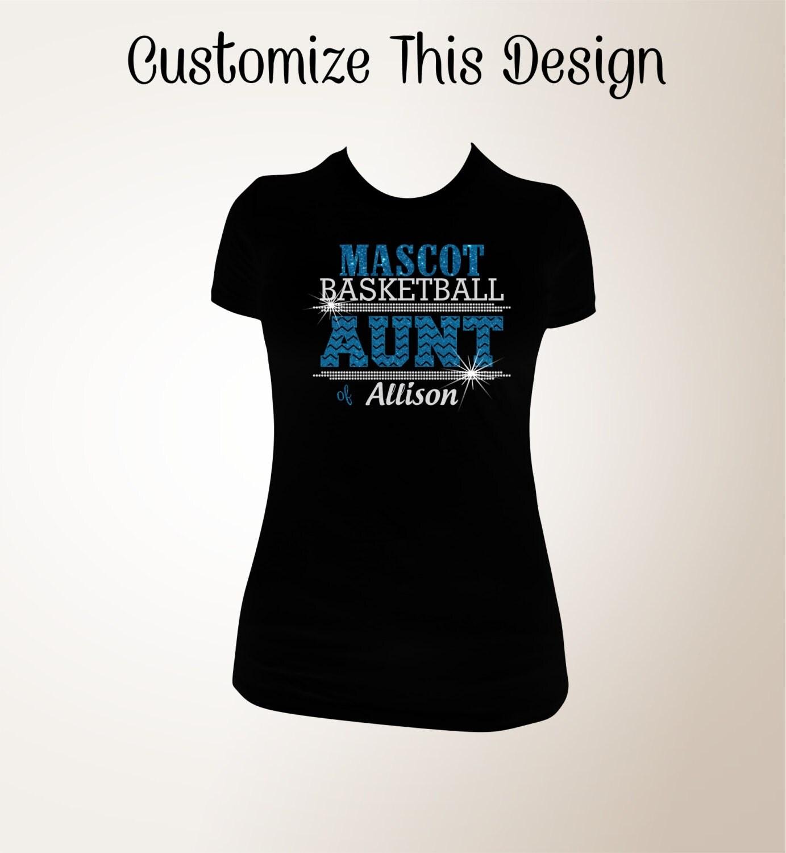 Custom Basketball Aunt Chevron Glitter And Bling Shirt