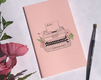 Moleskine Journal: Hand Illustrated Typewriter Notebook