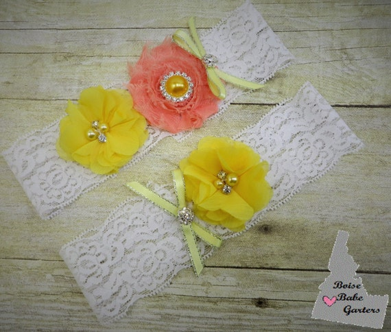 White And Yellow Garter Coral And Yellow Garter Stretch Lace