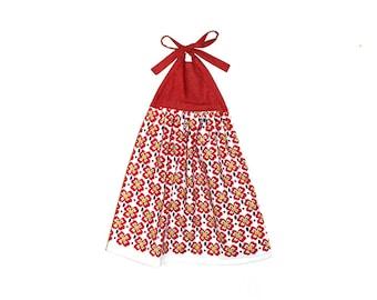 Red Kitchen Decor, Flower Hand Towel, Bright Kitchen, Red Polka Dots,  Hostess