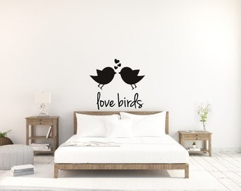Love Birds with birdies and hearts vinyl decal - Vinyl Decor - Home Decor - Large Wall Mural- Above the bed decor