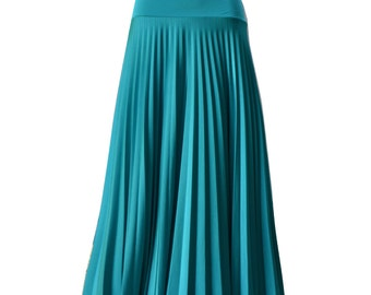 COOL MINT Flare Jersey Pleated Maxi Skirt | Modest Long Skirt | Islamic Clothing S M L XL 2XL 3XL