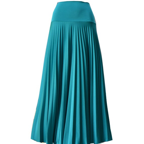 cool mint flare jersey pleated maxi skirt modest skirt