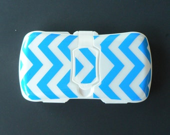 Blue Chevron Travel Wipes Case, Travel Wipes Container Decorated Top, Back is Blank, Boy Wipes Case, Trendy Wipes Case, Baby Shower Gift