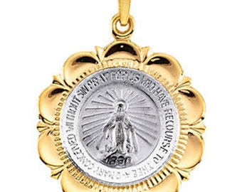 14kt White/Yellow Gold 25x21mm Miraculous Medal Religious