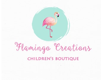 Watercolor Logo Design, Custom Logo Design, Custom logo,Flamingo Logo, Business Logo, watercolor logo, Photography Logo, Boho chic