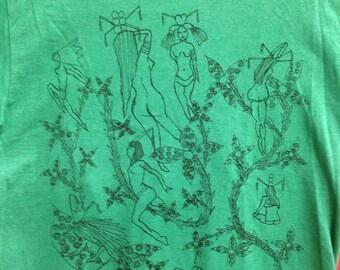 Fetish Pin Up Tee Shirt- Nudes Tee Shirt- Art Deco Tee Shirt- Art Nouveau Tee Shirt- Sexy Girls Tee Shirt- Gift- Size Small