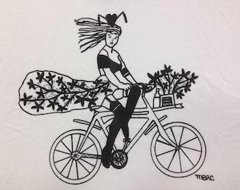 Bicycle Tee Shirt- Bike Tee Shirt- Bicycle Gift- Bike Gift- Women Cycling Tee- Women Bicycle Gift- Pin Up Tee- Burlesque Tee- Size Large