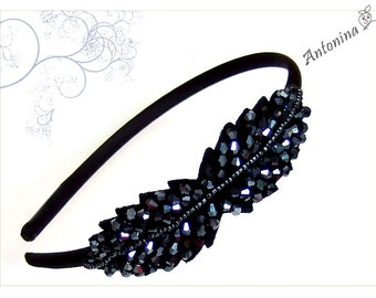 Headband black beaded leaf headband anthracite grey alice band blue black dark grey leaf pearls