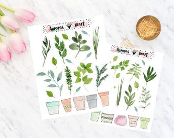 Plant herbs soft watercolor planner stickers boho