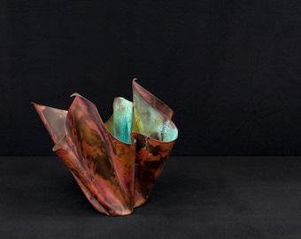copper table accent sculptural vessel patinaed