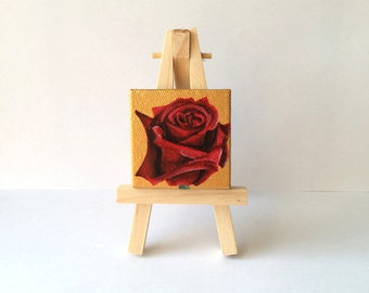 Mini Red Rose Painting