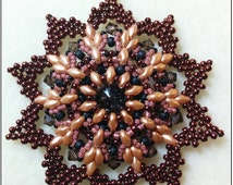 Beading pattern instructions, beading tutorials and patterns, beaded pendant pattern, beaded rivoli pendant, PDF, diy jewelry, superduo