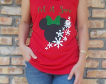 Disney Inspired Minnie Mouse Christmas Tank for Adults & Kids / Disney Christmas Shirt / Disney Let it Snow / Minnie Mouse Christmas /