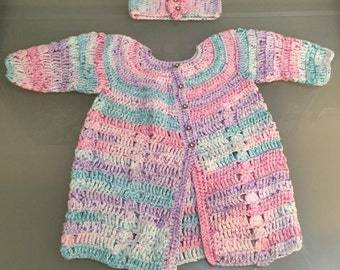 Hand Knitted Baby Cardigan Multicoloured with Head Band