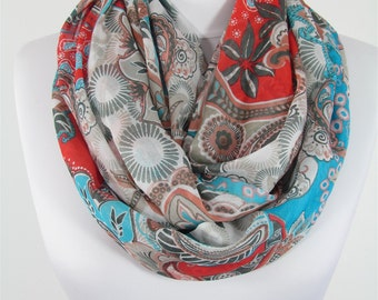 Paisley Scarf Floral Scarf Red Blue Scarf Shawl Infinity Scarf Spring Summer Fall Women Fashion Accessories Christmas Gift For Her For Mom