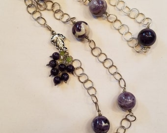 Stunning Chevron Amethyst and Sterling Silver Statement Necklace
