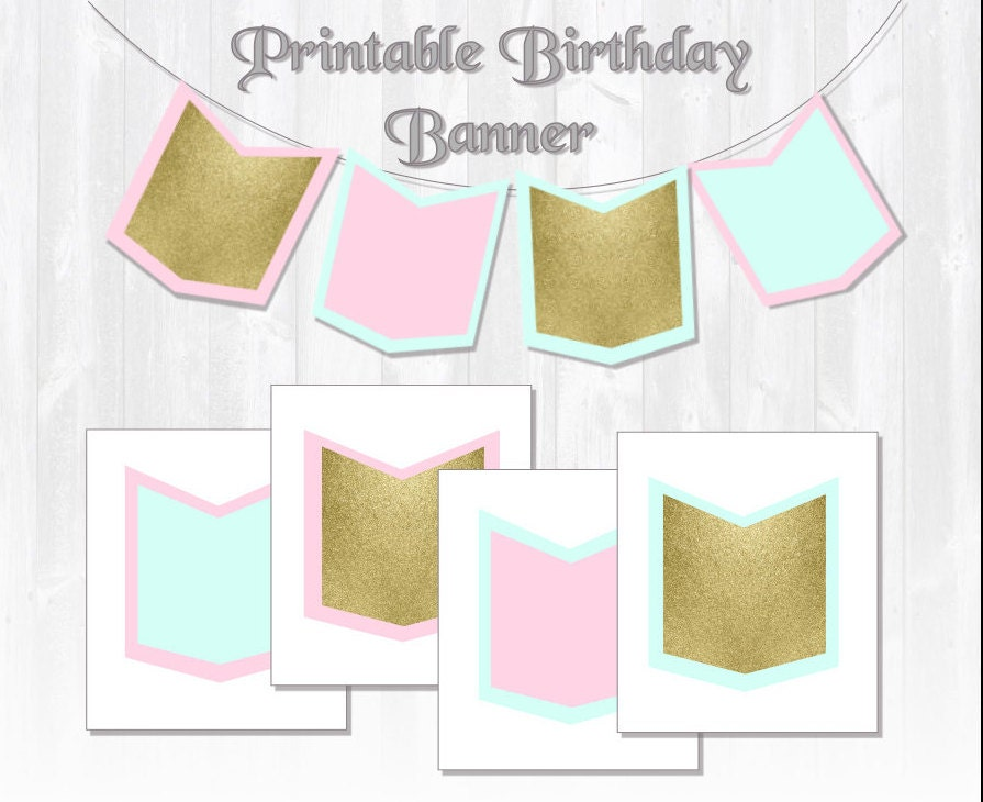 Glitter Birthday Banner/ Mint Pink & Gold by ...