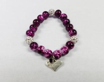 Purple Pink Babysitter Beaded Bracelet