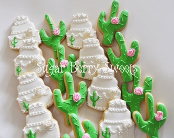 White Desert Wedding - Arizona- Cactus Sugar Cookies - wedding cake  - Country Chic - Wedding favors - desert - cute - shabby chic