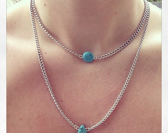 Dyed Turquoise Howlite Layered Necklace