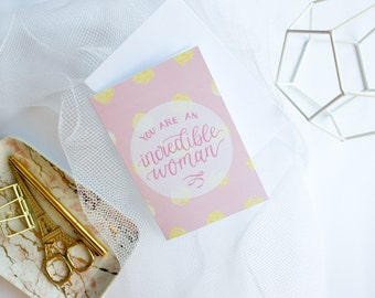 Mother's Day Card - Card for Mom - Card for Wife - Woman Greeting Card - Lettering - Blank