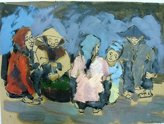 "MARKET TALK 13X10"" original gouache on paper, live painting, Vietnam village scene, original by Nguyen Ly Phuong Ngoc"