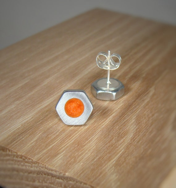Silver Hex Nut Stud Earrings With Coral Orange Pearl Acrylic